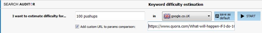 Keyword difficulty estimation - custom URL comparison.